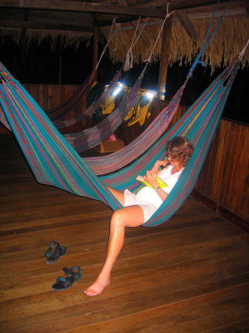 AMAZONEWOUD, ECUADOR: Relaxation after visiting the Amazon in Ecuador.