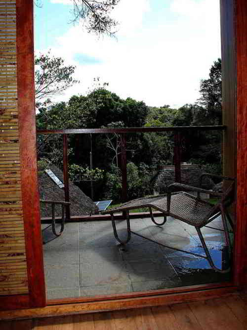 View from the Deluxe Bedrooms at the Cuyabeno Rainforest Lodge in Ecuador.