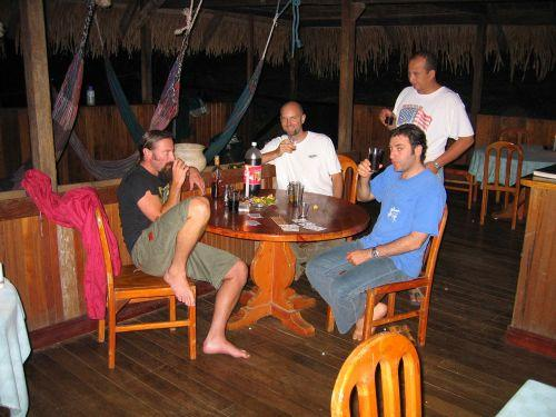 Drinking a cold beer at the Cuyabeno Rainforest Lodge in Ecuador.