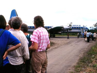 Cuyabeno Nature Reserve: Historical picture of ecotourists for Cuyabeno flying from Lagoagrio.