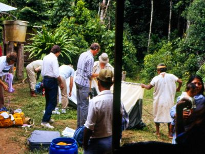 Cuyabeno Nature Reserve: Sionas and tourists jointly set up camp on first ecotour in 1986.