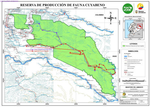 CUYABENO WILDLIFE RESERVE MAP: Lagarto Cocha Expedition.