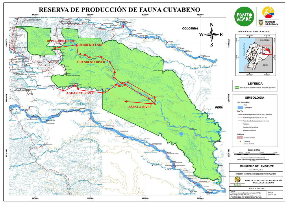 CUYABENO NATIONAL PARK [10 FACTS]: Official map of the CUYABENO NATIONAL PARK [10 FACTS]: 450X150 km or 590,912 hectares (5,901 km2 or 2,330 square miles)